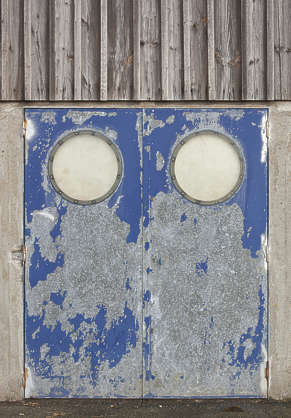 door metal industrial windows round paint worn