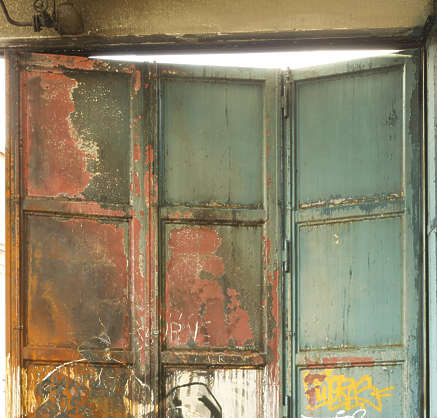 metal burnt painted rusted door