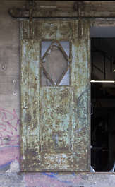 door metal sliding old rusted germany