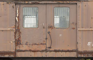 door metal double rusted train