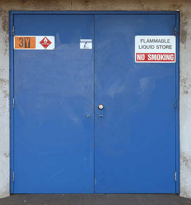 door metal warning flammable