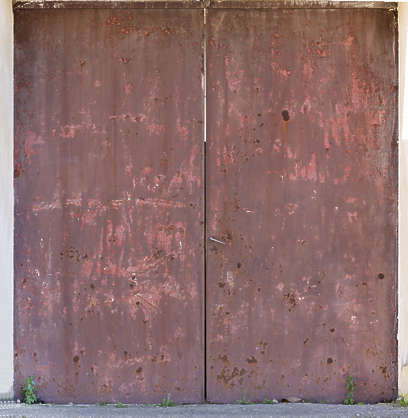door metal old rusted double painted