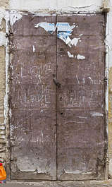 morocco metal door double rusted old worn