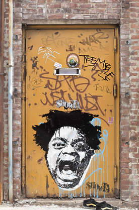 brooklyn NY new york door grafitti graffiti graffitti single metal