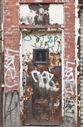 brooklyn NY new york door grafitti graffiti graffitti metal old rusted