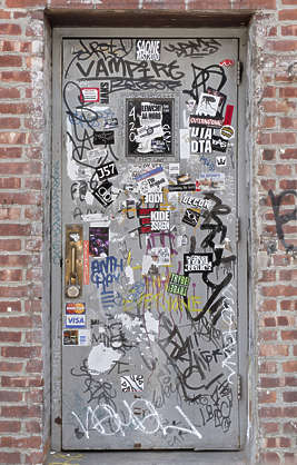 brooklyn NY new york door grafitti graffiti graffitti metal single