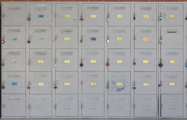Doorsmetalcovers0018 Free Background Texture Locker Lockers Box Doors Metal School Yellow Blue Gray Grey Desaturated
