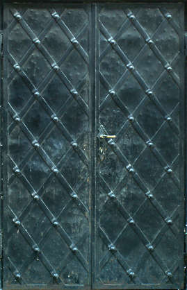 door metal medieval armored studded