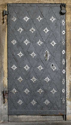 door medieval metal old ornate
