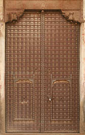 india door medieval old double big studded armored metal