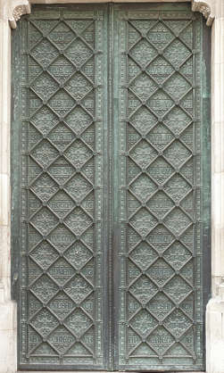 door ornate double metal ornaments