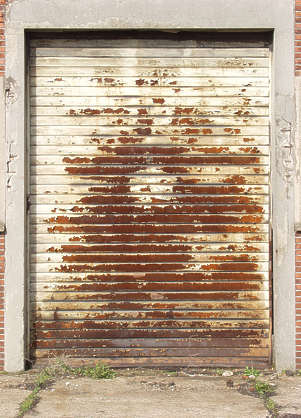 door garage metal rollup rust