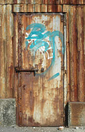 door metal single rust rusted graffiti