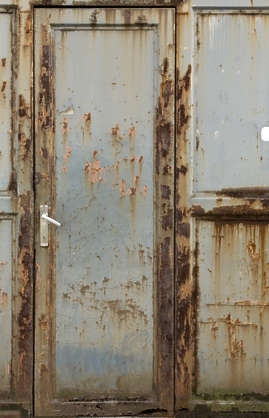 door metal rust rusted single