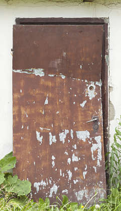 door metal damaged rusted
