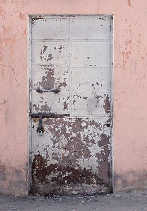 morocco door metal old worn pink