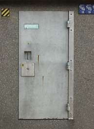 door concrete handle heavy solid