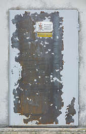 door single metal painted worn