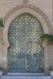 morocco metal door ornate ornament brass stucc arch