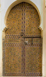ornament moorish morocco door double wood ornate