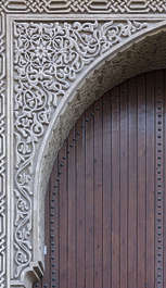 morocco arabic moorish ornate ornament stucco arch door wood