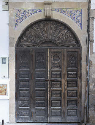 door doors morocco arabic moorish ornate wooden double arch old