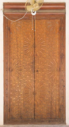 morocco location:medersa-bounana moorish wood door ornate carved