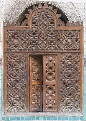 morocco location:medersa-marrrakesh moorish wood carved carving fence door ornate ornament