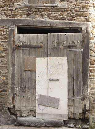 door wood double medieval old damaged repaired