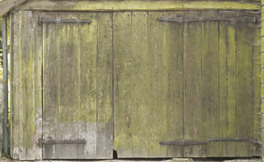 wood planks old moss mossy door barn shed