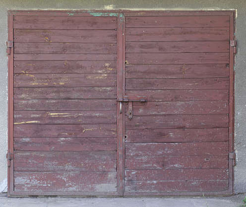 door garage double wood old