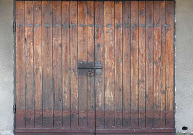 door garage double wood old planks