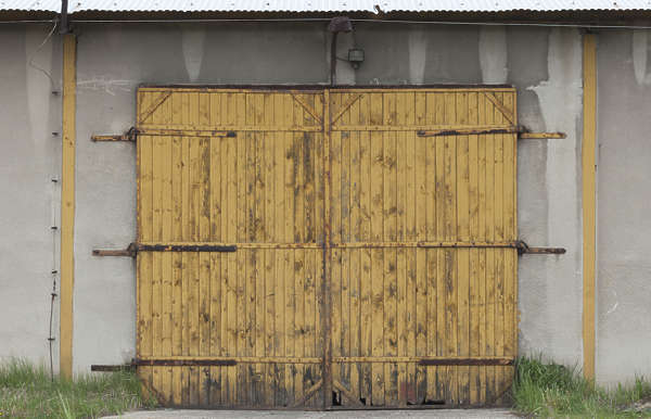 door wooden double gate painted old weathered