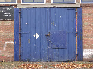 door wood painted damaged warehouse double