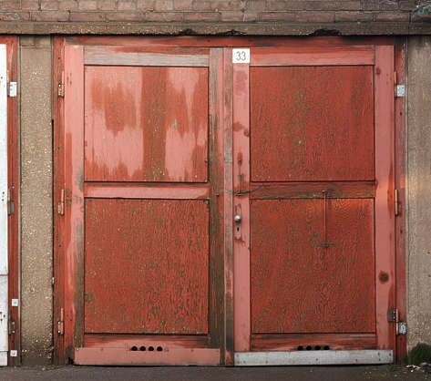 door garage double wood old painted