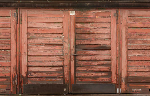 door garage double wood old painted planks