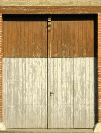 door metal wood planks double garage