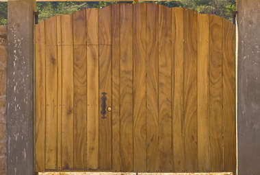 gate fence wood door double planks