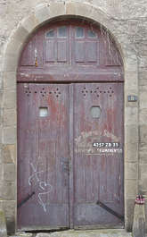 door wood double arch old