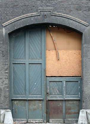 door wood old derelict damaged double