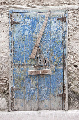 morocco door wood double barred medieval old