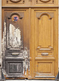 door double wooden burned