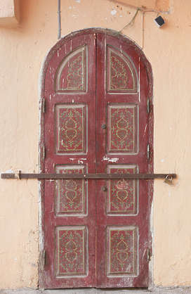 north africa arabia arabian morocco door arch old wooden painted weathered