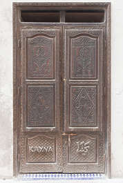 north africa arabia arabian morocco door double old painted wooden weathered