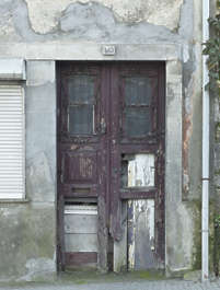 portugal door double wooden old damaged