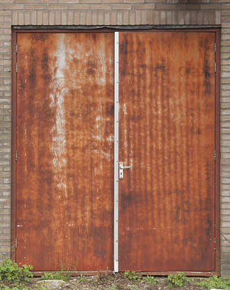 door rusted double metal