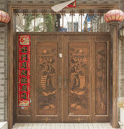 china door double wooden ornate ornament chinese asian
