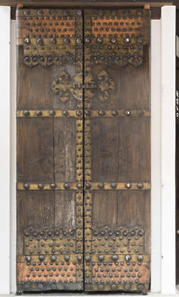 door medieval old worn metal studded armored double Japan