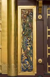 door ornate ornament dragon gold gilded double shrine temple wood Japan