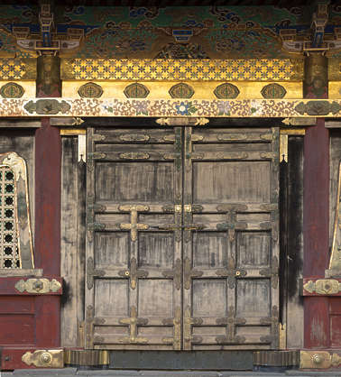 ornate door wood japan double shrine temple medieval bare worn old